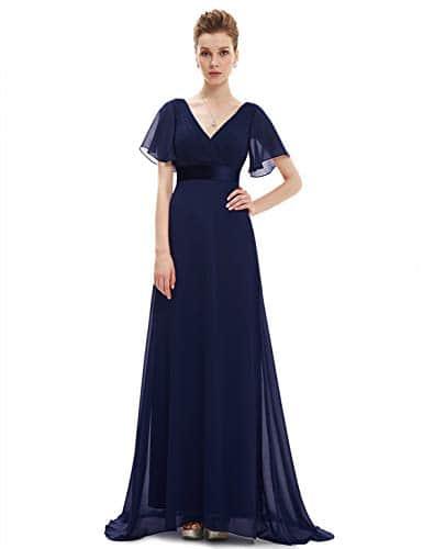 Ever-Pretty Robe de Soirée Longue Femme Col V Manches Courtes Bleu Marine 56
