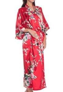Femme Chemise de Nuit Soie Artifielle Paon Fleur – Kimono Robe de Chambre Longue avec Ceinture – Rouge – Taille 3XL