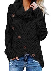 G-Anica Sweatshirt Femme, Chemise Femme Sweats Asymétrie Pull Tricoté en Coton à Manches Grande Taille Longues Cardigan Tops Blouse Shirt Chandail Chemisier (Noir, M)