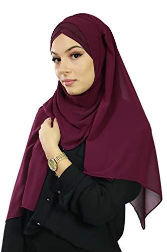 Hijab Foulard à Enfiler avec bonnet intégré pour femme musulmane voilée châle islamique voile enfilable (Prune)