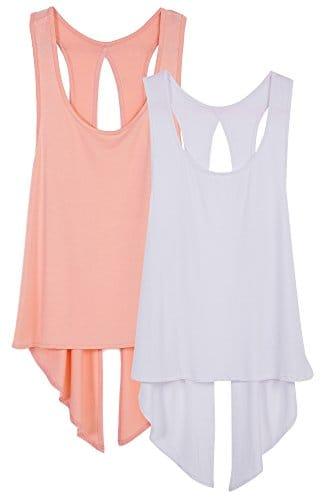 icyzone Débardeur T-Shirt de Sport Femme – Tops sans Manches Gilet Dos Ouvert Exercice Yoga Running T-Shirt (XL, Rose thé/Blanc)