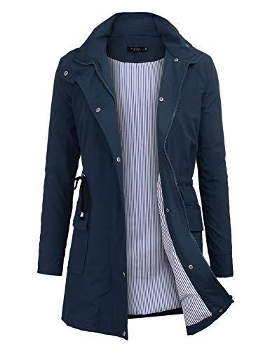 Imperméable à Capuche Femme, Ponchon de Pluie, Trench Capuche Femme, Manteau de Pluie Raincoat Waterproof (Bleu, X-Large)