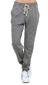 Jogging Femme Coton Sport Pantalon Gris en Maille Coton avec Cordon de Serrage Taille Haute Elastique (Gris, XXL)