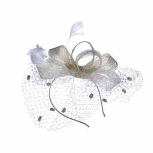 Kangrunmy- Chapeaux Melon, Mini Chapeau Clip Gothique Femme Chapeau Dentelle Cheveux Clip Chapellerie Rubans et Plumes Chapeau de Fête de Mariage (Beige)
