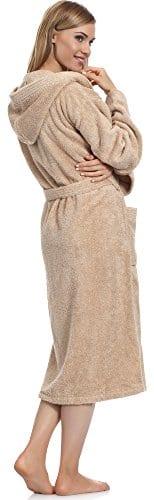 Ladeheid Peignoir de Bain Éponge 100% Coton Femme LA40-102(Beige (P02), L)