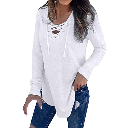 LckyGirls Women V Neck Strap Long Sleeve T-Shirt Top Autumn Blouse