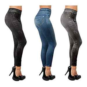 Lot de 3 Slim Jeggings Push Up (1 bleu, 1 noir, 1 gris)