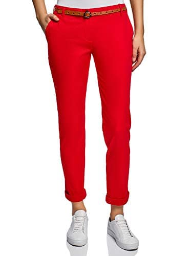 oodji Ultra Femme Pantalon Chino avec Ceinture, Rouge, FR 44 / XL