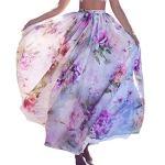 Shujin Femme Bohème Jupe Imprimé Floral Maxi Jupe Évasée Été Jupe de Plage en Mousseline de Soie Jupe Cheville Plissé Dress Casual