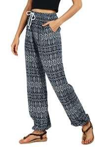 Urban GoCo Femmes Boho Harem Pantalon Dames Floral Imprimer Élastiquée Taille Pantalon (S, 2)