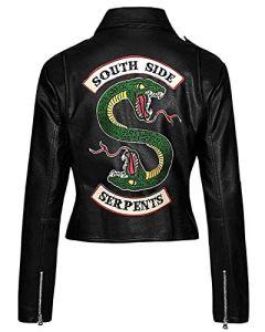 Veste Riverdale Southside Serpents pour Femmes en Faux Cuir (XXS-3XL) (XS (Tableau des Tailles))