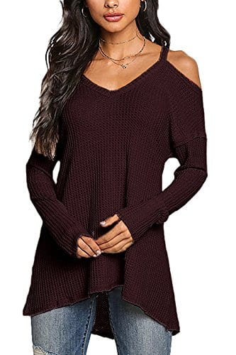 YOINS Femmes Pull Sweater Col V en Tricot Épaules dénudées Pullover Top Blouse Chemise Manche Longue Chandail Lâche (XL/EU 46, Rouge Foncé)