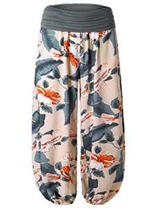 BaiShengGT – Femme Pantalon Bouffant Large Bande Imprime Taille Haute Stretch Abricot 2 L
