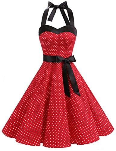 Dresstells, Version3.0 Vintage 1950's Audrey Hepburn pin-up Robe de soirée Cocktail, Style Halter années 50 à Pois, Rouge S