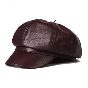 Easy Go Shopping Chapeau de Bonhomme de journaux Vintage en Cuir avec béret de Bord, Large pour Femme (Couleur : Marron, Taille : XXL)