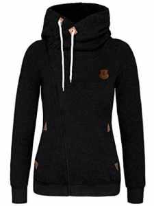 FANTIGO Mode Femmes Automne Hiver Sweats à Capuche Casual Hoodies Pullover Manches Longues Vestes Oblique Zippé Sweat-shirt(Noir,XXL)