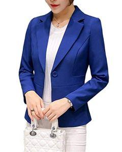 Femme Élégant Blazer à Manches Longues OL Bureau Affaires Veste De Costume Manteau Slim Fit Cardigan Blouson Jacket Bleu FR 40