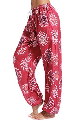FITTOO Pantalon Yoga Femmes Sarouel Bohémien Harem Pants Imprimé Floral pour Danse Orientale