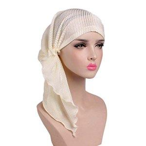 iKulilky Bonnet Chimio Écharpe tête de femme Bonnet de chimiothérapie Casquette Chapeau Cancer Tissu ethnique Impression Turban Headwear Stretch Foulard musulman