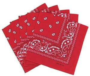 KARL LOVEN Lot de 5 bandanas 100% Coton paisley foulard fichu 25 couleurs au choix (Lot de 5 identiques, Rouge)