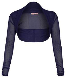 KRISP 7537-NVY-08, Femme Boléro Soirée Chic Marriage Taille, Bleu Marine (7537), 36