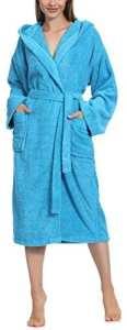 Ladeheid Peignoir de Bain Éponge 100% Coton Femme LA40-102(Turquoise (M16), XL)