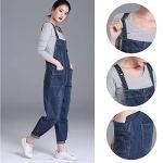 LAEMILIA Salopette Femme en Jeans Combinaison Grande Taille Bodysuit Pantalon Denim CasualBleuEU 42(Tour de taille96cm)