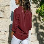 Lasperal Femme Chemise Élégante avec Poches Couleur Unie Col V Blouse Top Chic à Manche Longue Lâche Confortable pour Printemps Été