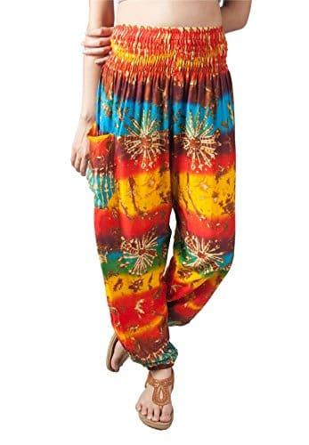 Lofbaz Pantalon Sarouel Femmes Taille Smockée Tie Dye Orange & Jaune 3XL