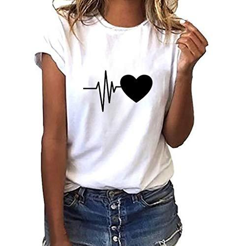 ღMeilleure Vente LuckyGirls Mode Coeur Manches Courtes Loose Femmes T-Shirt imprimé décontracté O-Neck Top(A Blanc,Small)