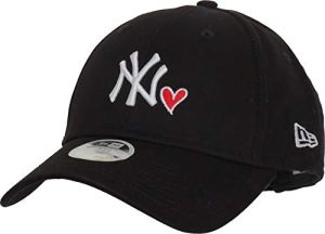 New Era Casquette Femme 9FORTY Heart New York Yankees Noir Ajustable
