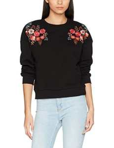 New Look Embroidered Shoulder, Sweat-Shirt Femme, Noir (Black 1), 34