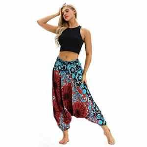 Pantalon Floral Boho Sarouel Yoga Taille Unique Femme DéContracté Jogging Trousers Style Baggy SurvêTement Danse Vetement SANFASHION(rouge1,Taille Unique)