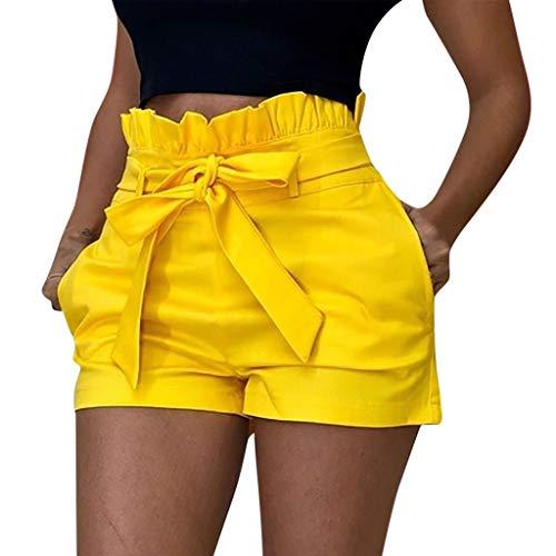 Pantalons Court Femme,SANFASHION Shorts Bermudas Nouveaux Mode Pantacourte Taille Haut Poche Sexy Pantalons Courts été Plage Jaune, M