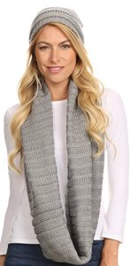 Sakkas 16141 – Sayla strass Jewel doux chaud Woven Cable Knit Beanie Hat et écharpe – Gris – OS