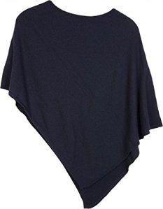 styleBREAKER Poncho Doux en Maille Fine de Couleur Unie, col Rond, Femme 08010042, Couleur:Bleu Nuit/Bleu foncé