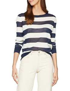 Tommy Jeans Femme Striped Pull Manches Longues Blanc (Snow White / Black Iris 905) Medium