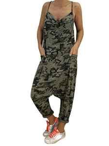 Tomwell Femme Coton Casual Large Ample Harem Sarouel Pantalon Combinaison Salopette Jumpsuit Vert FR 38