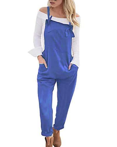 Tomwell Femme Salopette Bretelles Été Dames Jumpsuit Combinaisons Grande Taille Jeans Bodysuit Loose Casual Coton Large Ample Harem Sarouel Pantalon Bleu FR 38