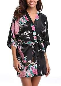 Uniquestyle femme kimono robe de nuit peignoir satin Fleurs Paon vetements chemise de nuit, Noir, S