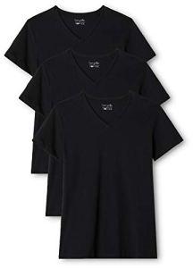 Berydale T-shirt pour femmes à encolure en V, lot de 3, différrentes couleurs, Noir, L