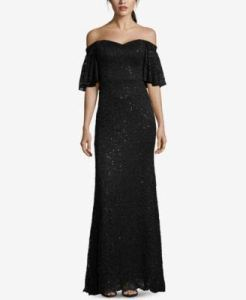 Betsy Adam Womens Sequined Lace Off The Shoulder Gown Black 8