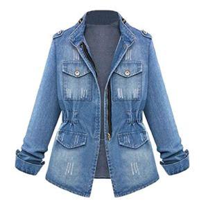 Blousons Jacket Grande Taille Casual Femmes Oversize Denim Manteau De Poche Jean Veste Zippe Chaîne S-5XL LONUPAZZ