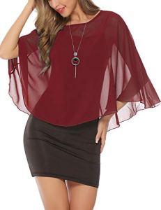 Boléro Femme Gilet Femme Court en Mousseline Manche Courte Elégant Veste Ouverte Chic pour Robe Bretelle Tee Shirt