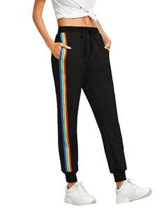 DIDK Femme Pantalon Survêtement Pantalons avec Applique Grand Taille Avoir Poches Taille Haute pour Sport Casual – Noir 4 – Taille S