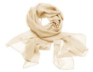 Dresstells, Femme pashmina châle écharpe étole en mousseline polyester printemps/été,Champagne,190cm×70cm