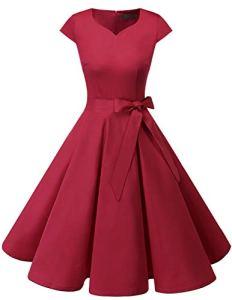 Dresstells Version 6.0 Vintage 1950's Robe de soirée Cocktail rétro Style années 50 Manches Courtes DarkRed XS