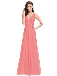 Ever-Pretty V-Col Longue Robe de Cocktail 40 Corail Rouge