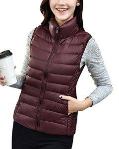 Femme Doudoune Sans Manche Gilet Ultra Légère Veste Manteau Zippée Hiver Parka Blouson Vin-Rouge XL