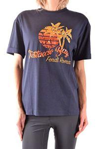 Fendi Femme Mcbi36168 Bleu Coton T-Shirt